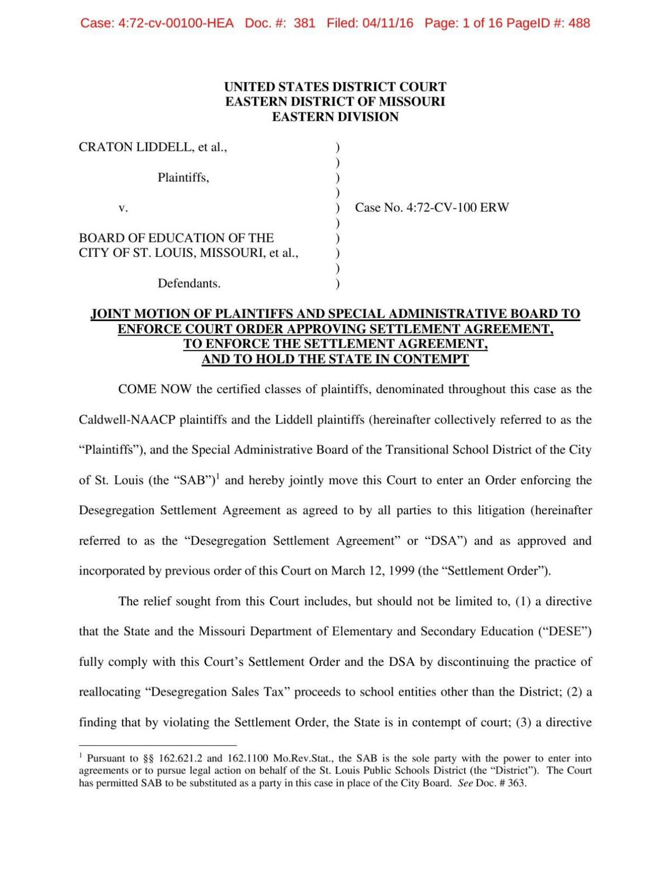 Motion Asking For Enforcement Of Desegregation Settlement Agreement
