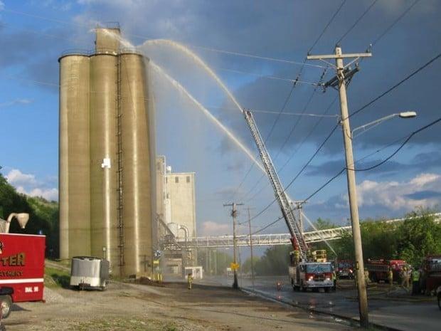 Silo fire at ConAgra mill in Chester, Illinois.