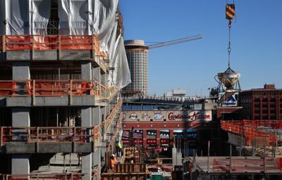 New Ballpark Village buildings rising downtown