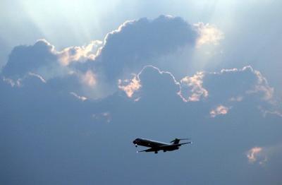 Jet landing at Lambert