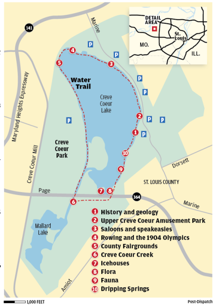 Creve Coeur Park Map Creve Coeur Park Water Trail map     stltoday.com Creve Coeur Park Map
