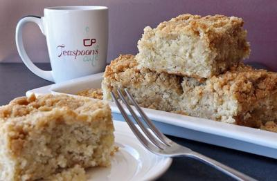 Banana Bread Crumb Cake is featured at Teaspoons Cafe