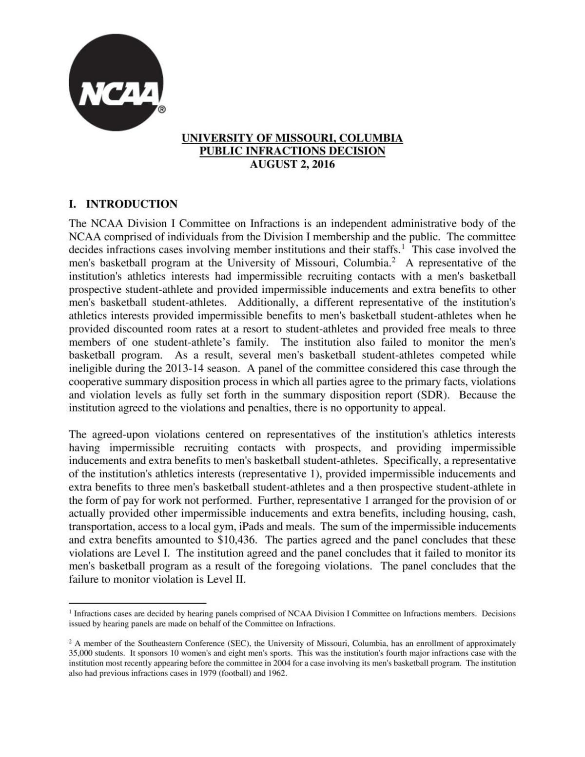 NCAA public infraction report on Missouri basketball