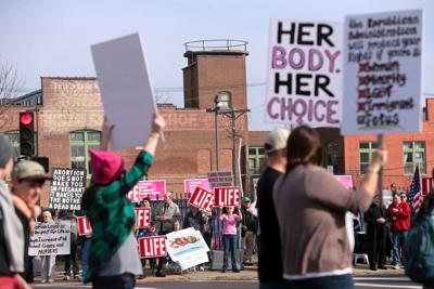 A mix of protesters and supporters at Planned Parenthood