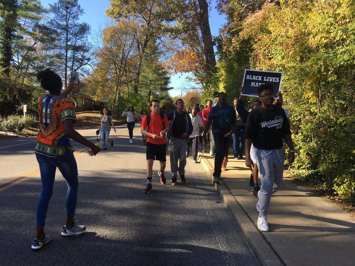 High school students walk out in Ladue