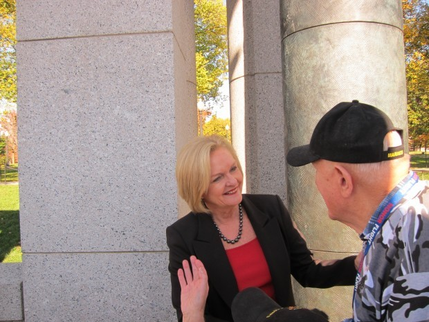 Sen. Claire McCaskill photographed on Nov. 8, 2011, greeting veterans at the U.S. National World War II Memorial in Washington.