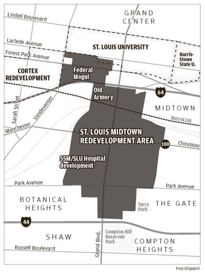 Map of proposed St. Louis University Chapter 353 redevelopment area.