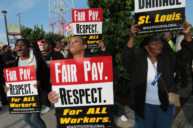 Fast food workers around St. Louis protest