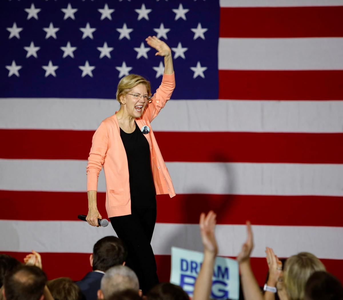 FILE PHOTO: Supporters of Elizabeth Warren at a rally in Raleigh