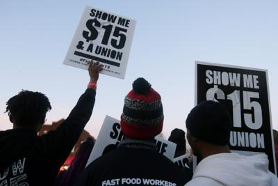 Fast-food workers demonstrate for higher wages