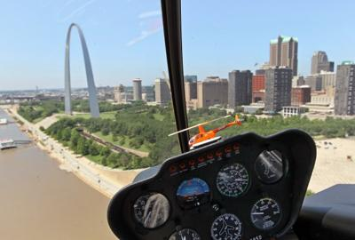 The Arch and downtown from a helicopter tour