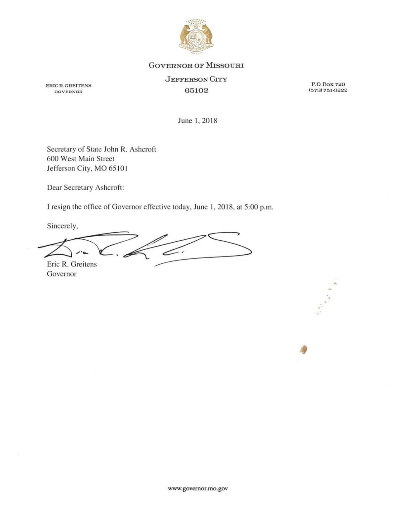 Download PDF Eric Greitensu0027 Official Resignation Letter