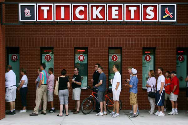 People waiting for tickets at Busch Stadium