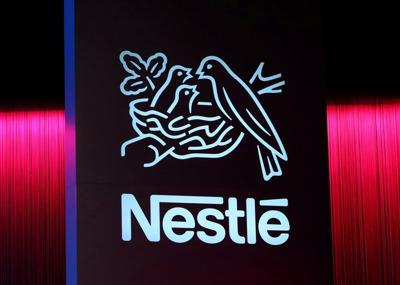 FILE PHOTO: Logo is pictured during the 152nd Annual General Meeting of Nestle in Lausanne