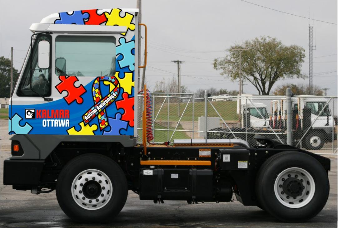 Wiese USA and Kalmar Ottawa Autism Awareness Rental Truck