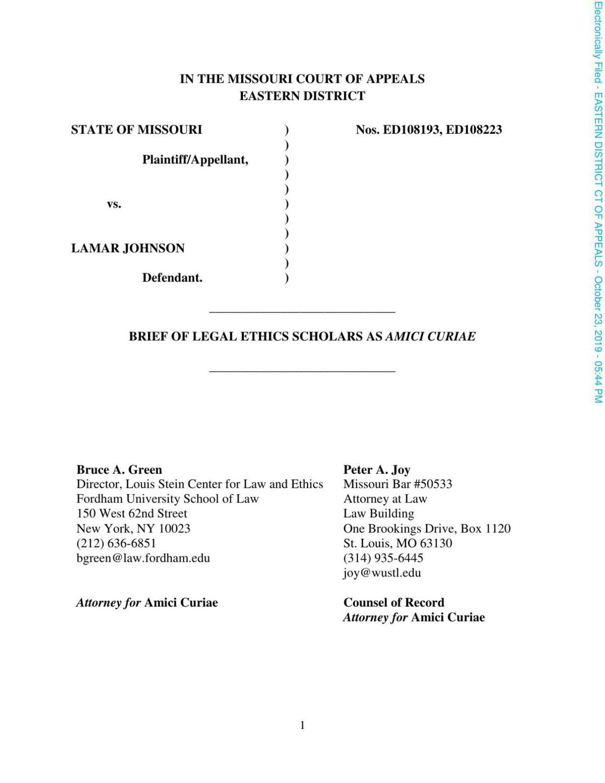 Legal scholars Lamar Johnson brief