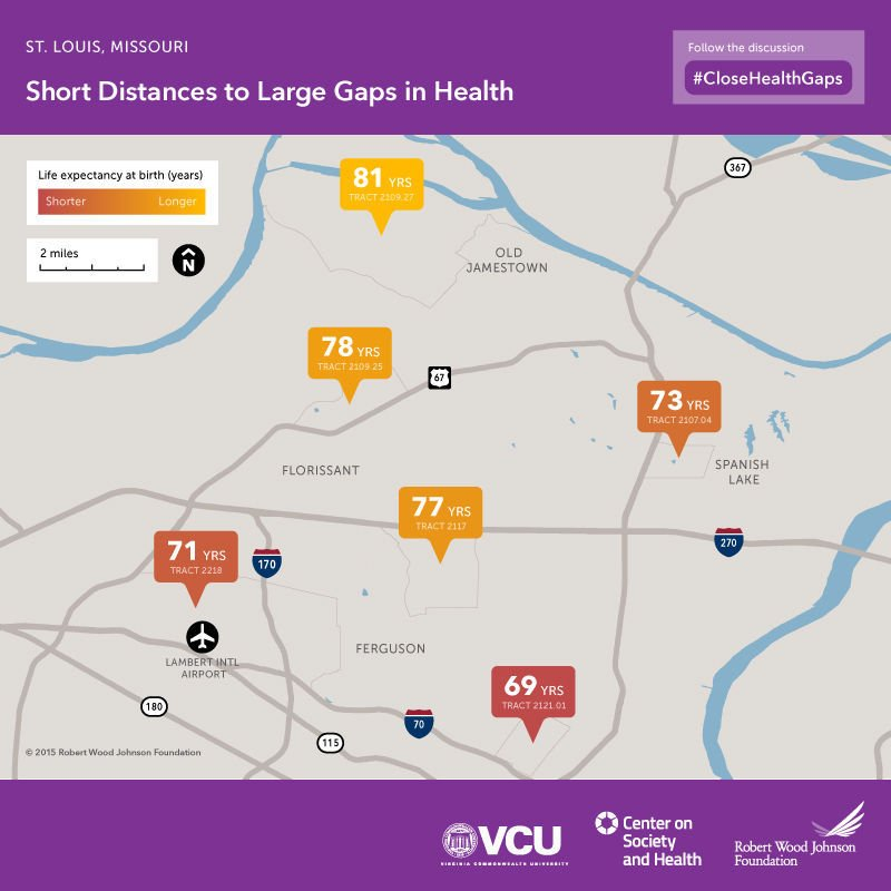 Life Expectancy In St Louis Depends Greatly On Geography Health - Life expectancy by us county 2014 map