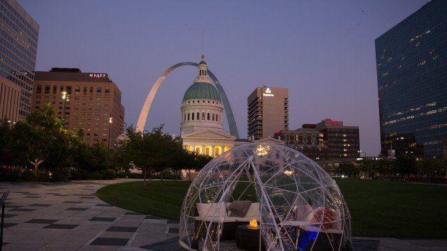 Igloo rental available at Winterfest at the Gateway Arch