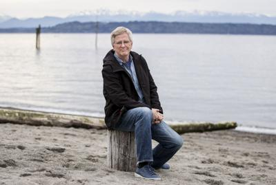 Edmonds, Washington, resident Rick Steves on the beach in downtown Edmonds in April 2020.