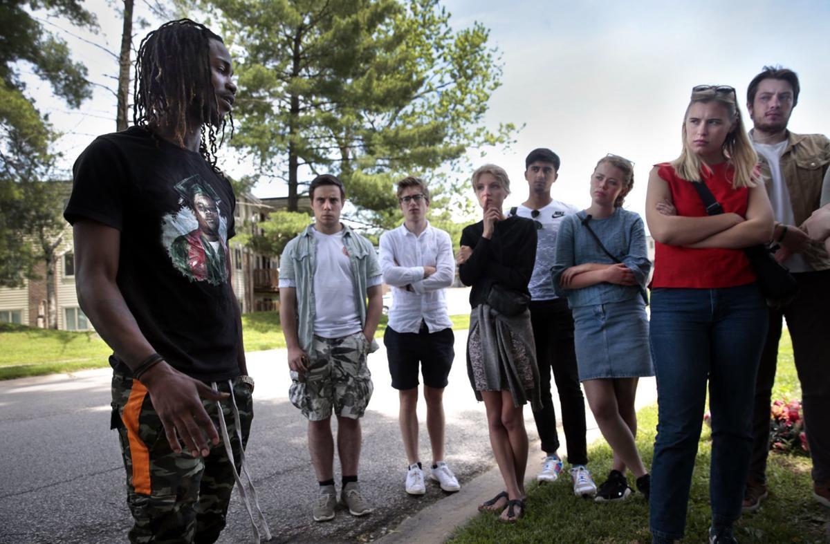 Students listen to Dorian Johnson