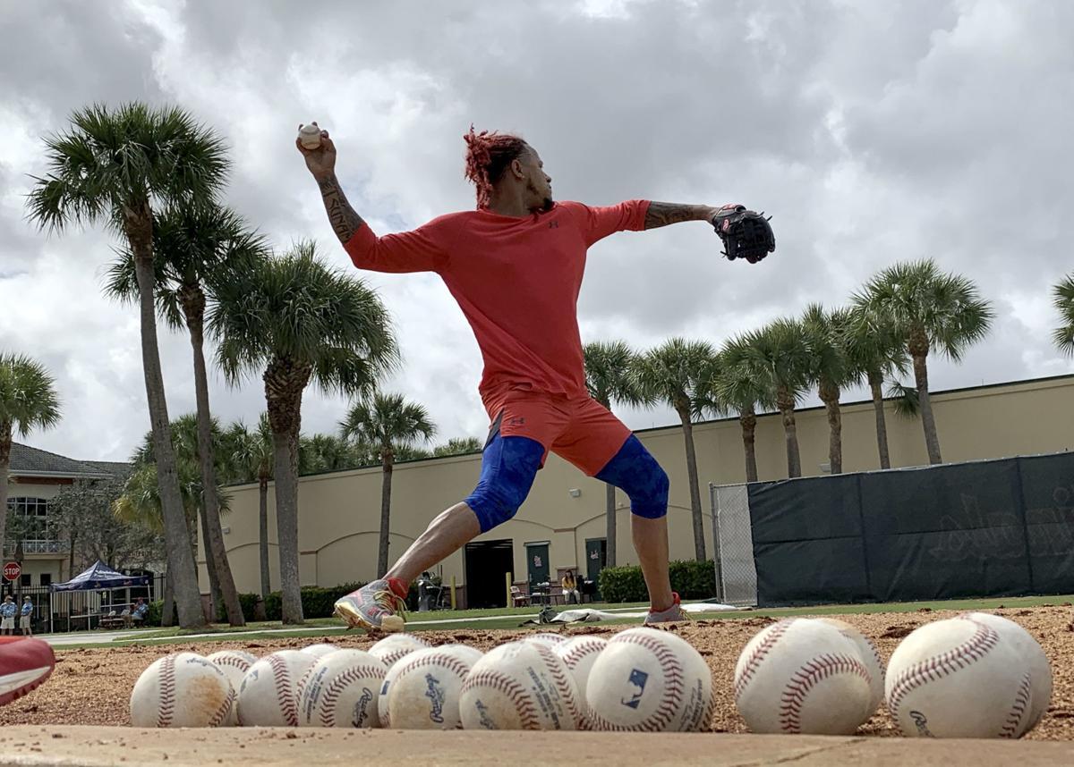 Carlos Martinez throws bullpen on Feb. 11