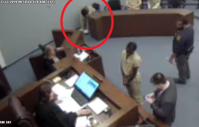 Lamar Catchings leans over in court