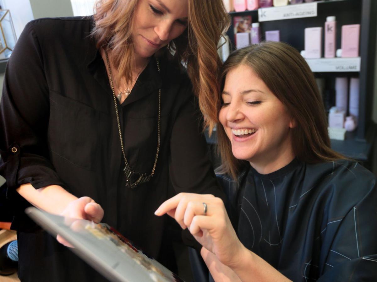 Megan Kennedy at the hairdresser