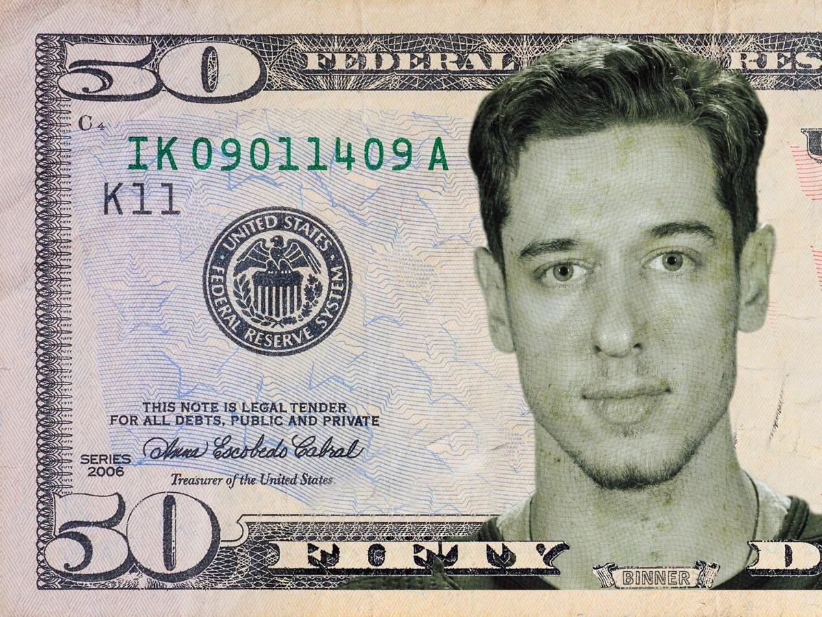 Jordan Binnington on a 50-dollar bill