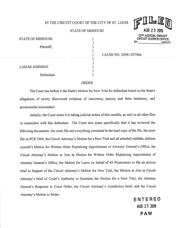 Read: Judge Elizabeth Hogan's order in Lamar Johnson case