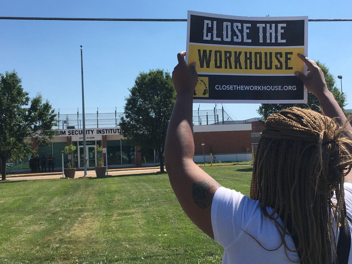Protester outside St. Louis' Medium Security Institution