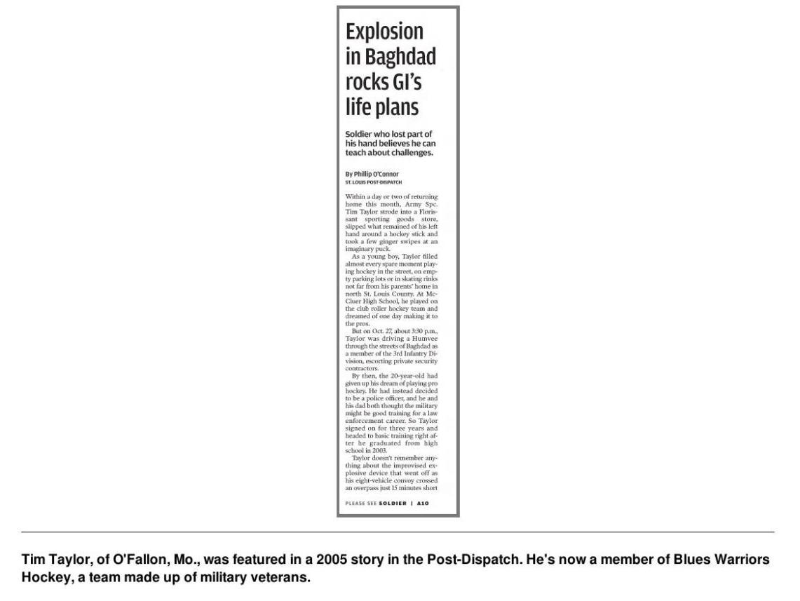 Tim Taylor, 2005 Post-Dispatch Clipping