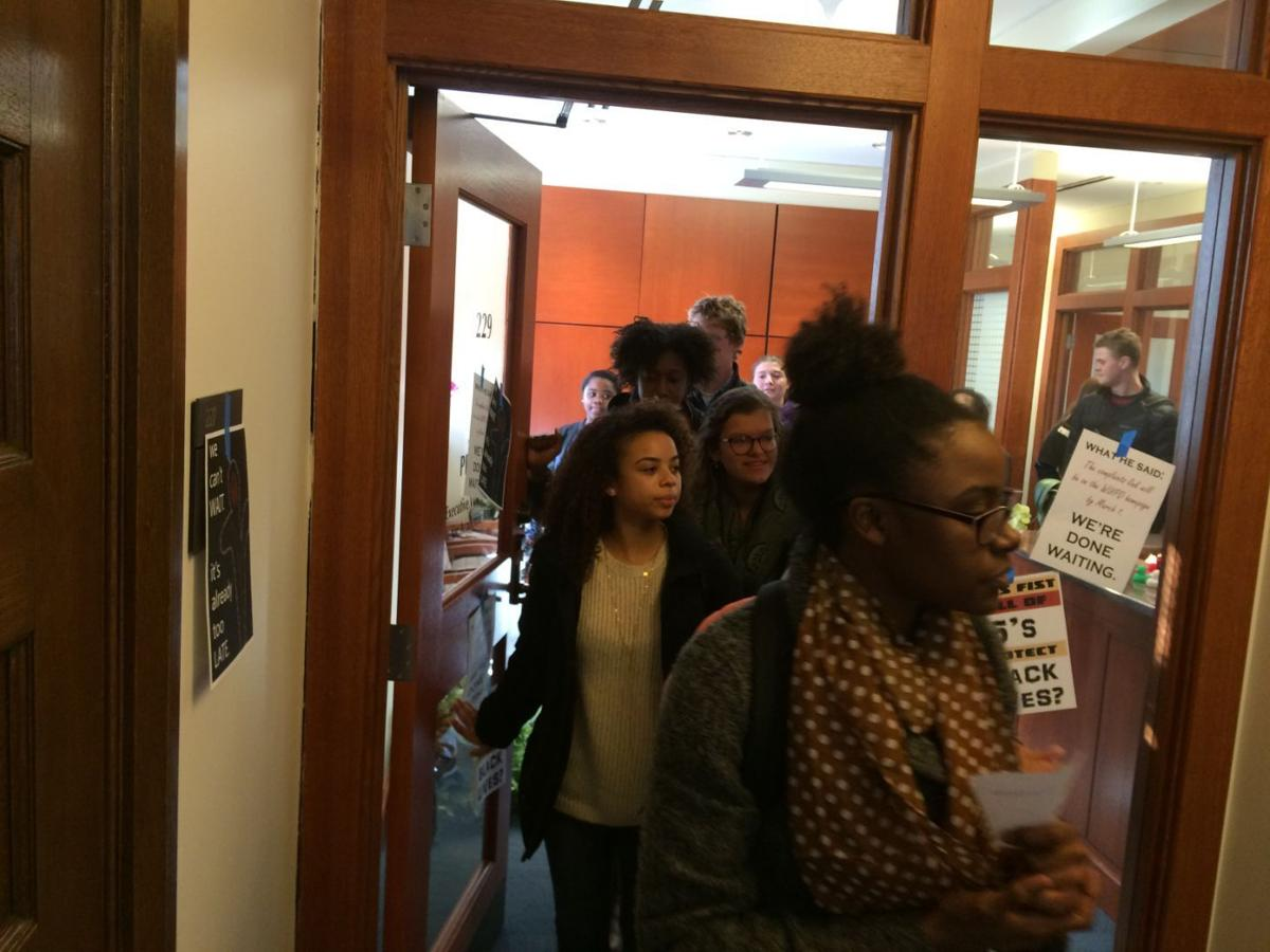 WU Protesters exit provost's office