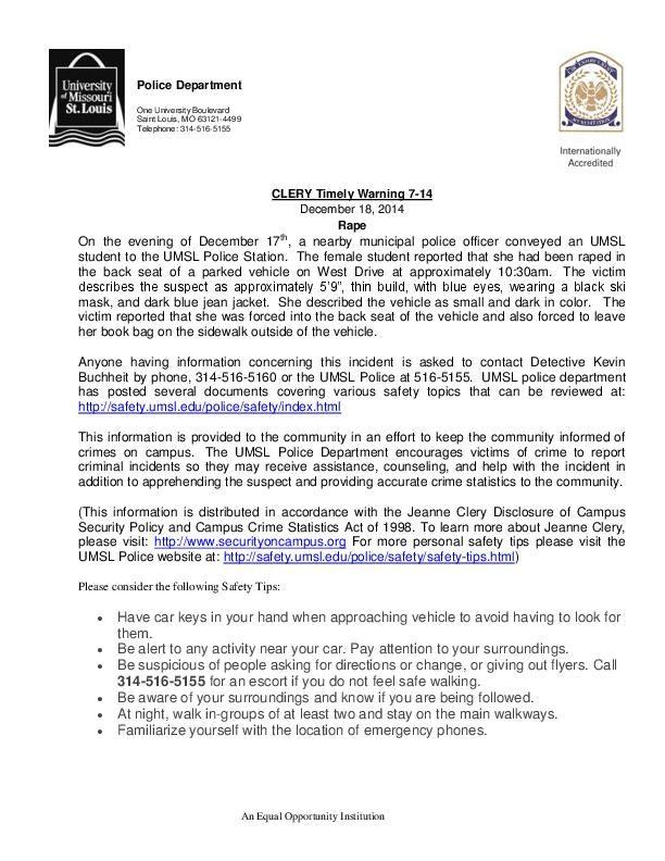 UMSL rape alert to campus