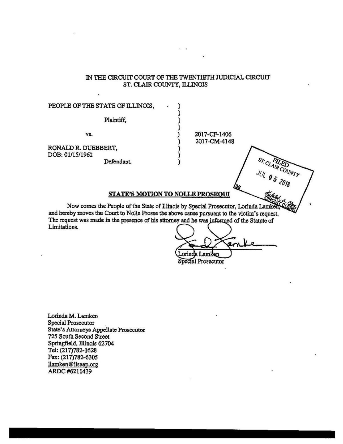 Dismissal memo in sex cases against St. Clair County judge