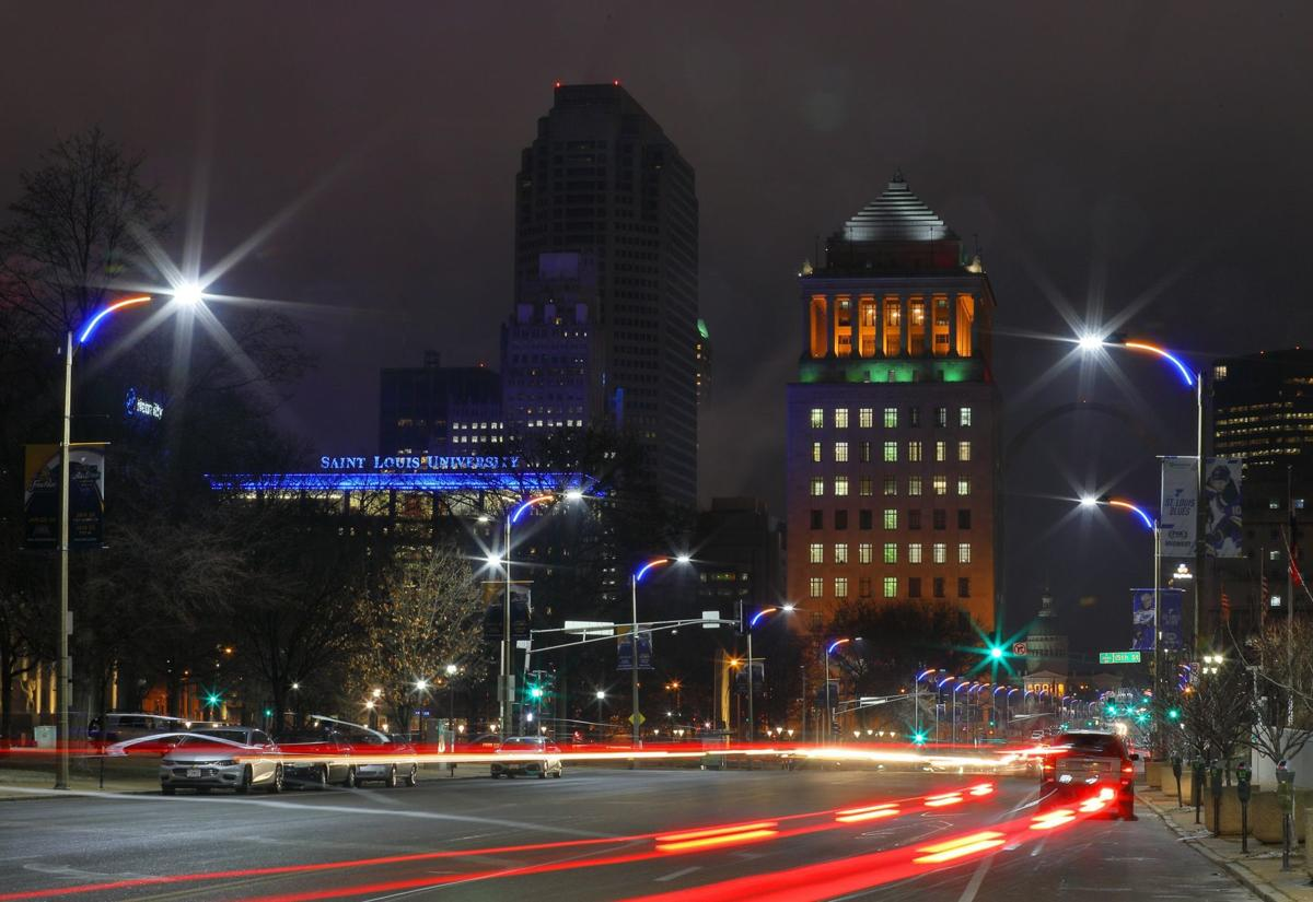 New street lights in downtown St. Louis