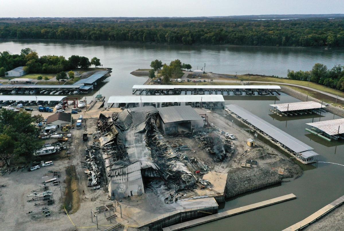 Woodland Marina boat storage destoryed by fire