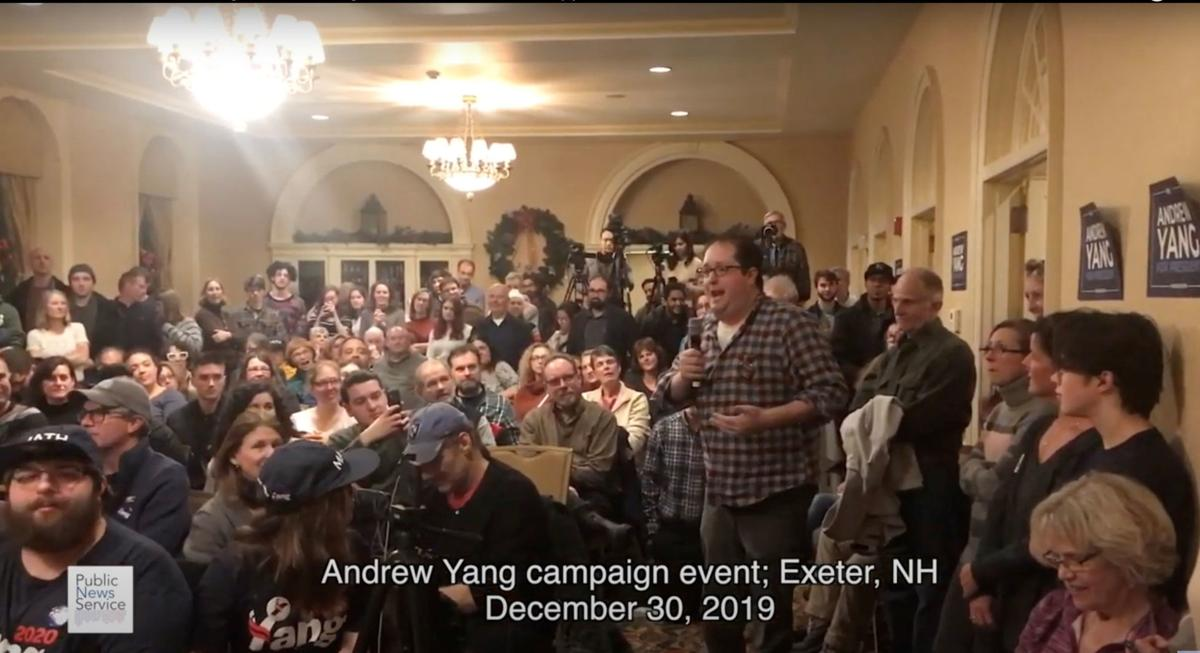 Andrew Yang at a town hall in New Hampshire
