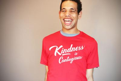 Marshall models BCI's new Kindness is Contagious T-shirt