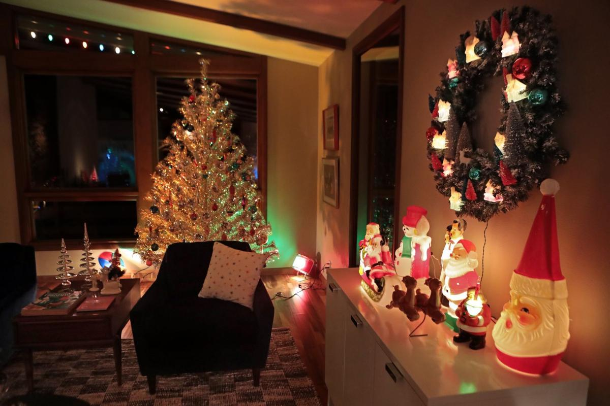 At home: vintage aluminum christmas trees brighten sunset hills home