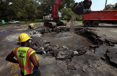 Massive sinkhole opens under Lindell near Forest Park