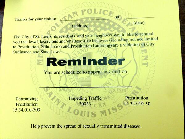 Dear John letters from St Louis police aim to curb prostitution