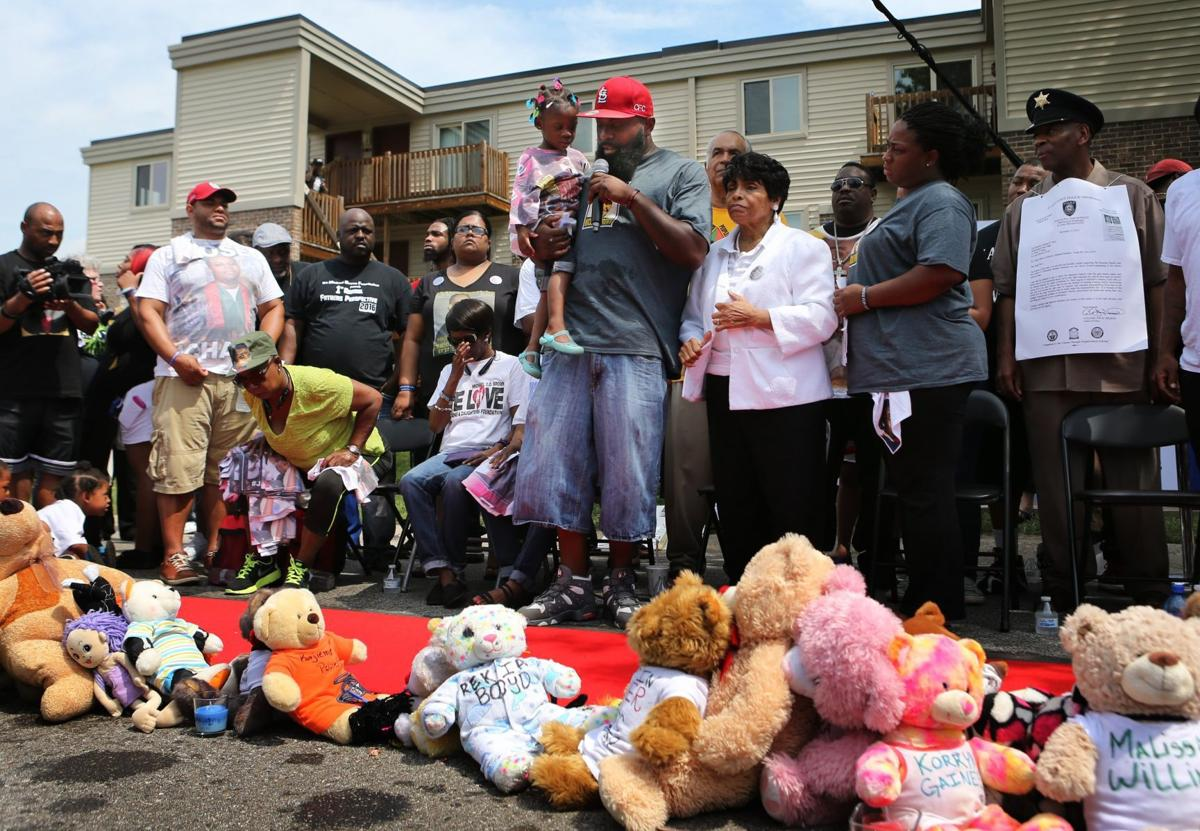 Michael Brown memorial ceremony on Canfield Drive two year anniversary of his death