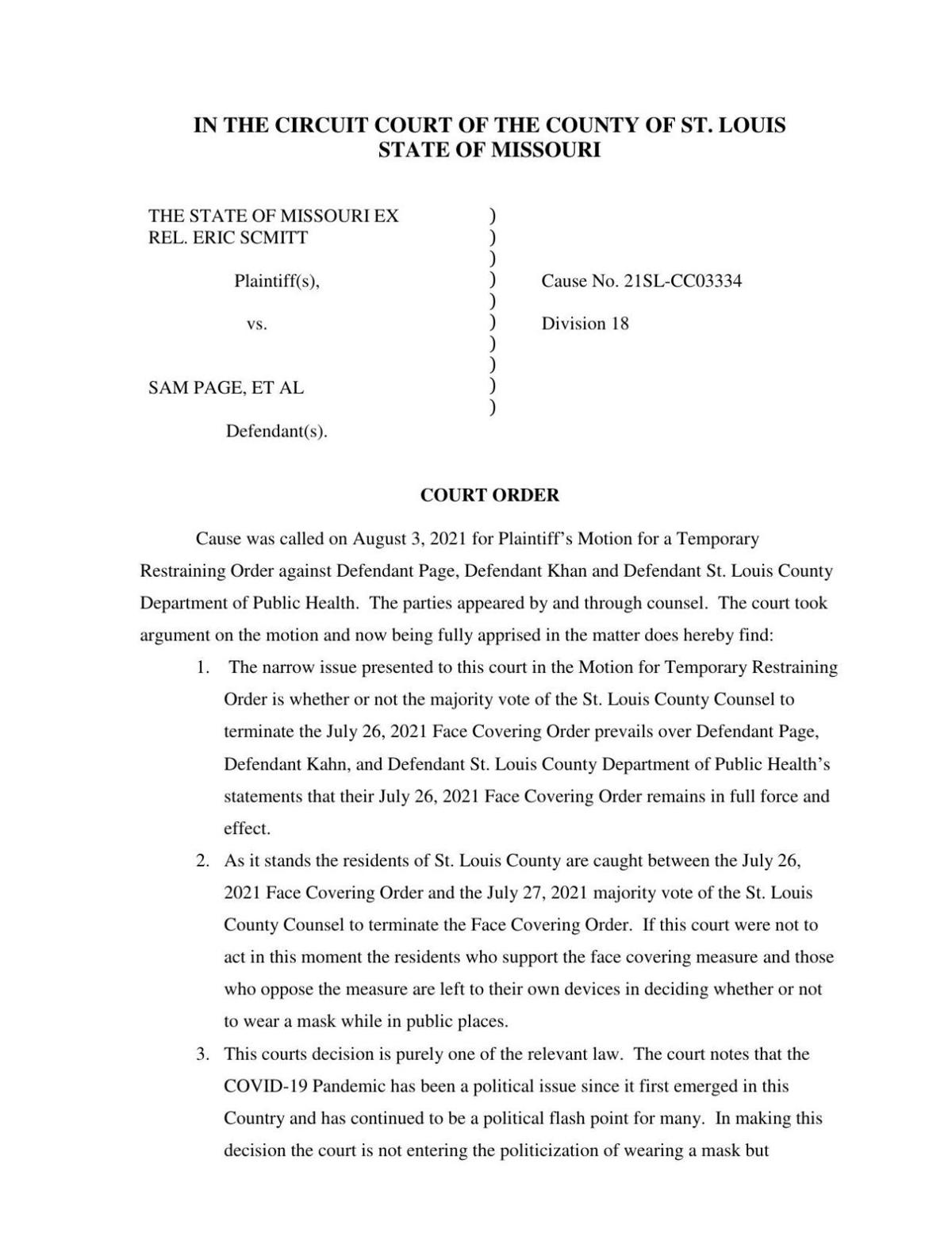 Read the judge's order blocking enforcement of the county mask mandate