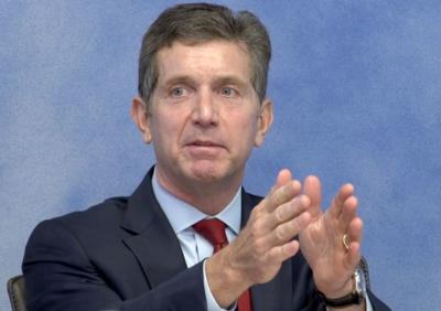 Johnson & Johnson Chief Executive Alex Gorsky speaks during a recorded deposition