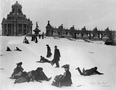 Sledding Art Hill, 1904-05