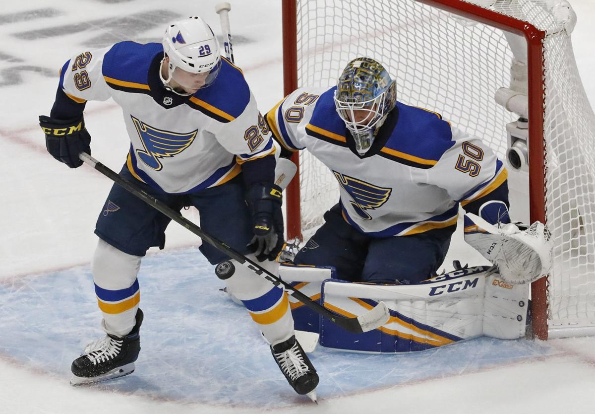 Dunn skates, will travel with Blues to Game 1