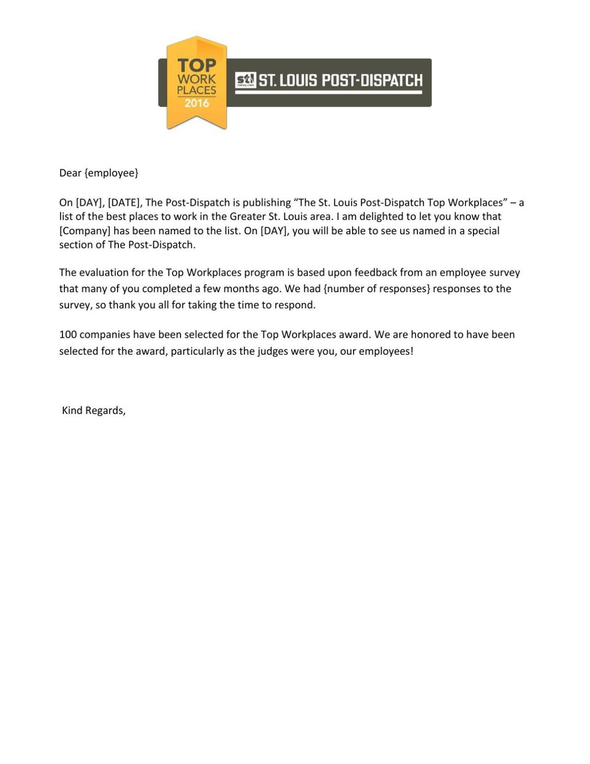 internal announcement letter template top workplaces