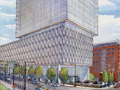 Rendering of a proposed Centene office building
