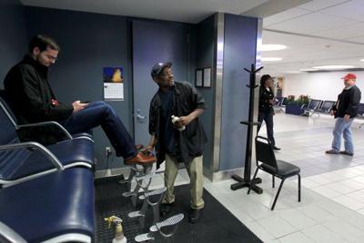 Slow shoe shine at Lambert-St. Louis International Airport