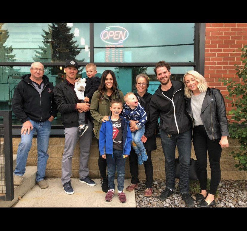Former Blues forward Kyle Brodziak (second from left), younger brother Ryan (second from right) and a bunch of other Brodziak's in front of the Local Omnivore restaurant in Edmonton. (Photo compliments of Ryan Brodziak)